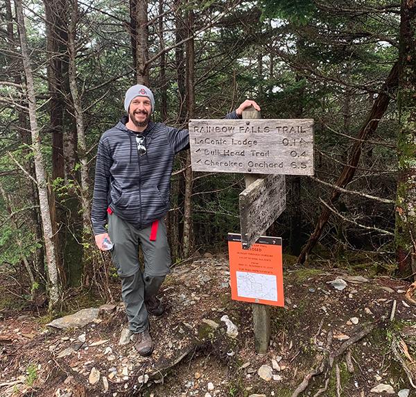 Coach Brian Broadwater hiking