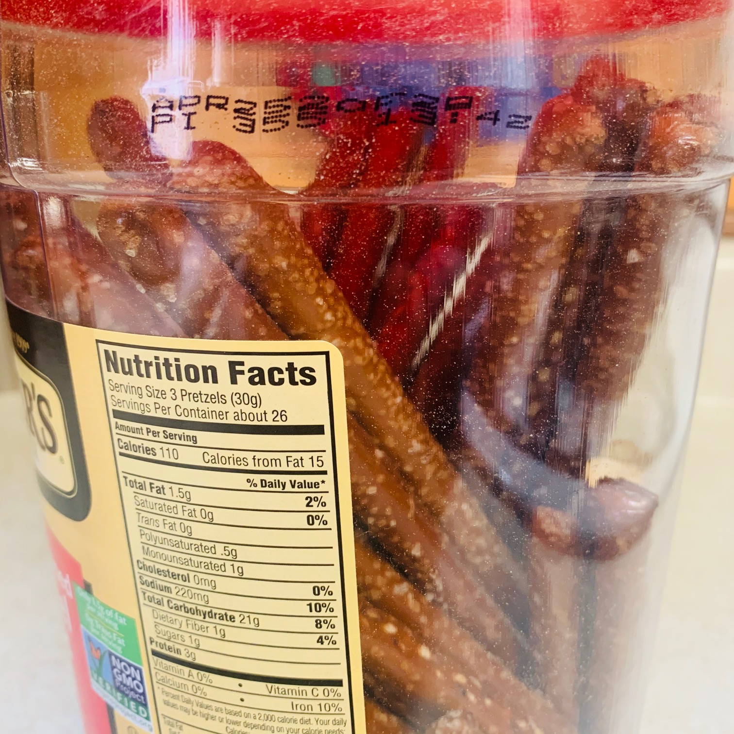 Container of pretzels
